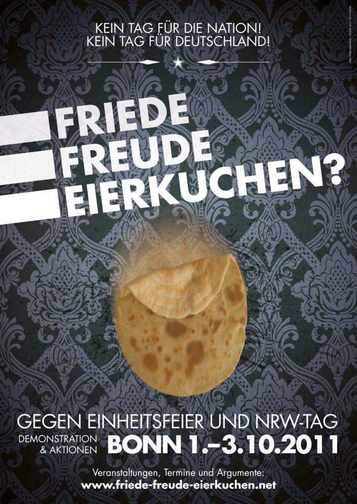 Plakat gegen die Einheitsfeier und den NRW Tag